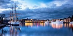 stockholm, city, urban, scene, color, blue, hour, sweden, harbor, port, ship, house, scandinavia, color, photo, Nikon D90, clouds, morning