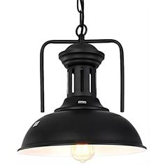 PAUWER Industrial Pendant Lights Fixture Retro Vintage Ceiling Barn Light Shade Kitchen Pendant Hanging Lamp (Bulb Not Included)