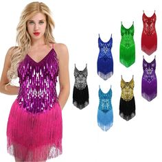 Women Ballroom Latin Rhythm Salsa Competition Dance Sequin Fringe Rumba Dress (one size only)