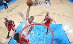 Russell Westbrook throws down the huge slam against the Chicago Bulls