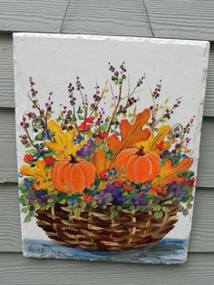 AUTUMN LEAVES and Orange Pumpkins BASKET  Large by DancingBrushes, $69.00