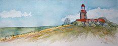 Der Leuchtturm Bastorf ist Ziel vieler Malreise an die Ostsee | Herbst am Leuchtturm Bastorf (c) Aquarell von Frank Koebsch