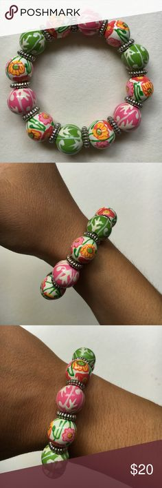 Angela Moore Classic Bracelet hand painted, classic beaded bracelet, floral, golden accents Angela Mooore Jewelry Bracelets
