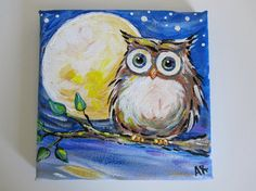 Owl Painting on Canvas Night Owl Original by BlueSeaPaintShop, $32.00