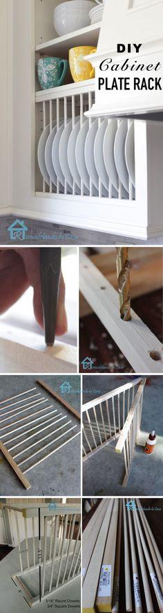 DIY Cabinet Plate Rack