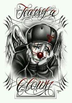 Resultado de imagen para chicano tattoo art and writing Chicano Drawings, Chicano Tattoos, Art Drawings, Graffiti Drawing, Arte Lowrider, Pierrot Clown, Chicano Love, Cholo Art, Clown Tattoo