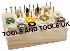 """Brand: Tools N Tools UK Type: Tools Colour: Brown Size: 41/2"""" x 6"""" Brand new unused professional quality product.Hardwood block measuring 41/2"""" x 6"""" with 88 holes.Holes are 1/8"""" in diameter to accommodate either 1/8"""" or 3/32"""" shanks.Will hold Brushes,Mounted Stones, Needle Files & Other Power ToolAccessories.Buy with Confidence.14 days money back Guarantee.Delivered with Royal Mail (2-3 days).Please ask if there are any questions.PLEASE NOTE:Accessories..."""
