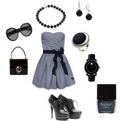 dress - blue&black on #polyvore