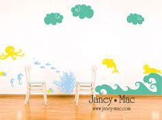 Ocean Vinyl Wall Decal Under the Sea  Octopus by JaneyMacWalls, $52.00