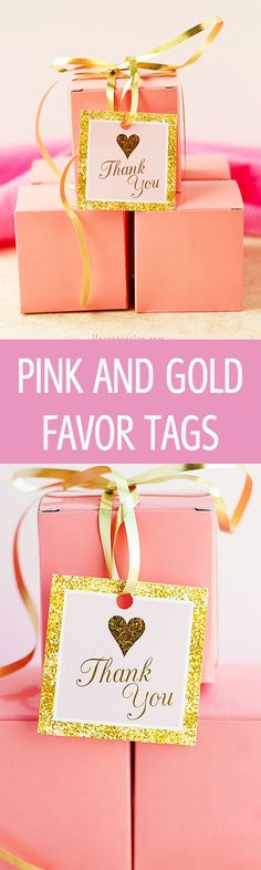 Pink and Gold Thank you Tags - Pink and Gold Favor Tags - Gold Thank you Tags - Pink and Gold Tags - Party Favors - Printable Favor Tags by Ilona's Design on Etsy I @ilonaspassion
