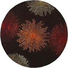 Handmade Soho Burst Brown New Zealand Wool Rug (8' Round)