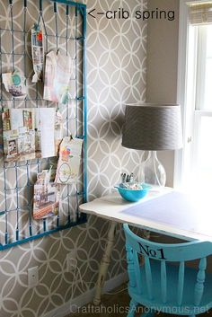 cot spring base memo board! genius! also love the wallpaper. Maybe for a bathroom.