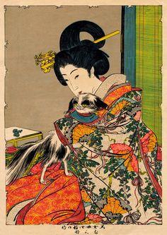 Geisha Beautiful Woman and Dog FINE ART PRINT animals by ArtPink