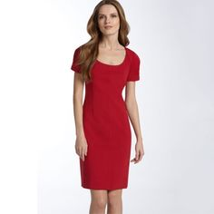 """✨SOLD✨ Elie Tahari Nordstrom Red Emma Dress Gorgeous red dress from Elie Tahari, designed exclusively for Nordstrom. Gathered sleeves add beautiful embellishment to this simple, slim ponte-knit sheath dress that exudes understated elegance. Delicate stitching at shoulder and neck seams. Hidden side zip. Fully lined.   • size 2 -- could also fit a 4 • 34"""" bust 