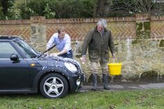 Prince William gives the car a wash with his father-in-law.  Just a regular guy doing a regular thing.  Love this!