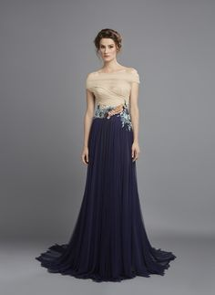 Spring Summer 2015 Navy tulle dress with skin color draped bodice and peacock embroidery at the waistline - front view