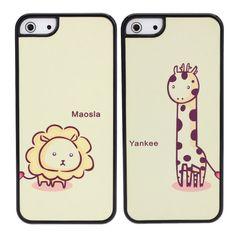 [US$2.20] Cute Cartoon Frosted Giraffe Lion Couple Plastic Case For iPhone 5 5S SE  #cartoon #case #couple #cute #frosted #giraffe #iphone #lion #plastic