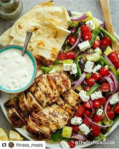 #Repost @fitness_meals with @repostapp  TAG A FRIEND & DOUBLE TAP #fitness_meals - Also follow @fitnesswiki - Grilled Lemon Garlic Chicken Greek Salad Recipe By: @cafedelites . Serves 4 Ingredients: 2 large skinless boneless chicken breasts halved to make four fillets 4 Flatbreads Marinade / Dressing:  cup olive oil  cup lemon juice  1 tablespoon red wine vinegar 2 teaspoons minced garlic 2 tablespoons dried oregano 1 teaspoon salt Cracked pepper For The Tazatziki (or use store bought): 1…