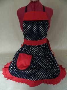 Retro Vintage 50s Style Full Apron / Pinny – Black & White Polka Dot with Red Trim