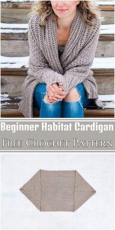 Free Crochet Beginner Habitat Cardigan Pattern #freecrochetpattern #crochetcardigan #freecrochetcardigan #freecrochetcardiganpattern Easy Crochet Shrug, Crochet Shrug Pattern Free, Easy Crochet Stitches, Easy Crochet Patterns, Crochet Scarves, Crochet Clothes, Free Crochet, Crochet Ideas, Crochet Projects