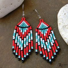 Beaded earrings with fringe.  Earrings made of Japanese seed beads.  Turquoise / Red / Black/ White  Length - 7,5 сm / 3 inches (including ear