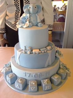 change the color on the middle layer. on the top layer God Bless middle layer Gavin Robert bottom layer the date Torta Baby Shower, Baby Boy Shower, Baby Boy Cakes, Cakes For Boys, Christening Cake Boy, Baptism Cakes, Elephant Cakes, Shower Bebe, Baby Sprinkle