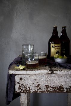 Still Life with Coronas and lime