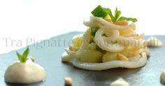 Piccola insalata di calamari, zucchine romanesche, patate e pinoli tostati al sale, con maionese leggera allo zenzero | Tra Pignatte e Sgommarelli