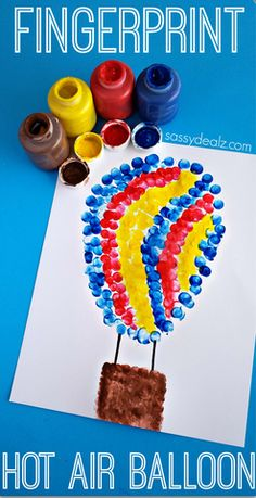 Fingerprint Hot Air Balloon Craft for Kids #Summer art project