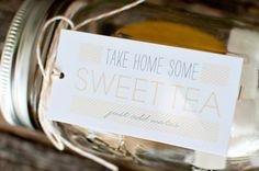 sweet tea kit mason jar favors - Bearden Bearden Ewart kinda love this. Southern Wedding Favors, Tea Wedding Favors, Wedding Welcome Bags, Southern Weddings, Rustic Wedding, Mason Jar Favors, Tea Party Favors, Party Gifts, Wedding Tips