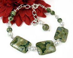 Rainforest Jasper Green #Gemstone Adjustable #Bracelet, White Freshwater #Pearls, #Heart #Charm, #Sterling Silver, Earthy Handmade #Beaded #Jewelry @prettygonzo