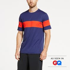 As seen in GQ. Stand out at the gym in our signature crew-neck tee. After all, you made it there. People should know. Bold stripe, odor resistant, wicking fabric—all the right ingredients for a killer