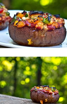 stuffed portabella mushroom pizza - vegan & gluten free (There's a recipe foe cheese sauce so you don't have to use normal cheese!)