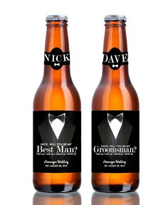 Set of 4 Groomsman and Best Man Beer Labels - Be My Groomsman - OR Groomsman Gift - Wedding Party