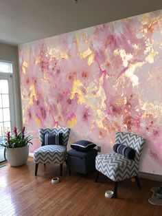EXTRA LARGE*** 8ft W x 10ft H ***Pink Gold Marbleized Background*** Vinyl Wallpaper Exclusive Design