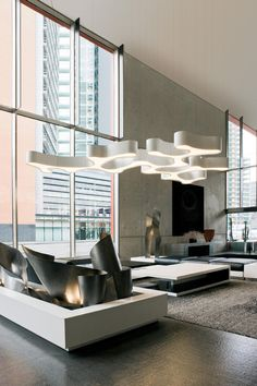 Ameba, pendant made of 5 different basic shapes designed by Pete Sans for Vibia