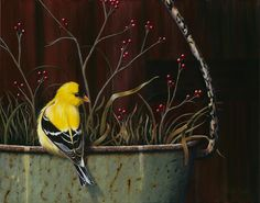 Goldfinch, A Backyard Bird Oil Painting by Camille Engel by CamilleEngelArt, via Flickr