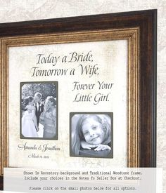Wedding Frame Father of the Bride Mother of by PhotoFrameOriginals