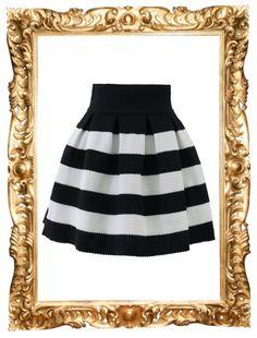 Contrast Stripes A-Line Skirt - $38