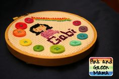 Pink and Green Mama: Sewing With Kids: Cross-Stitched Portrait Gift