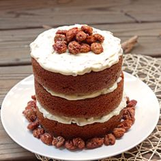 Pumpkin Cake with Maple Cream & Sugared Pecans. A beautiful dessert to celebrate the last days of autumn! {recipe}