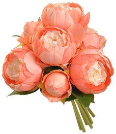 This listing includes 1 Beautiful Real Touch Silk Flower Peony 12in round Wedding Bouquet. Choose from 4 Peony Colors (with Your choice of Satin Ribbon from Pic 5. **Choose Color of Peony in Drop Down