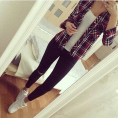Image via We Heart It https://weheartit.com/entry/149451531/via/25504513 #fashion #flannel #girl #leggings #outfit #pants #shirt #trainer