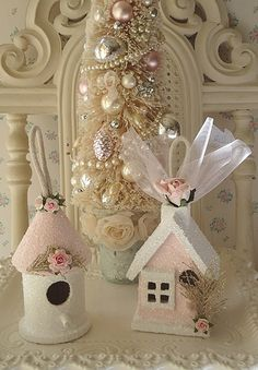 Pale Pink Birdhouse Ornaments main; Oh I AM going to make some of these!