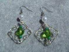 Green Jig Diamond Pattern Earrings by MeAndMyMother on Etsy, $13.99