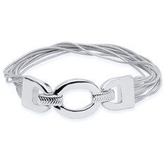 Nine West Metal Silver-Tone Tinge Of Fringe Stretch Bracelet ($20) ❤ liked on Polyvore featuring jewelry, bracelets, metal, charm bangles, silver tone charms, snake jewelry, polish jewelry and shiny charm