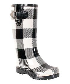 This Black & White Checkerboard Puddles Rain Boot is perfect! #zulilyfinds