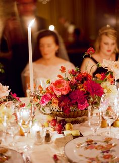 Magenta and coral centerpieces