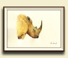 PRINT-White Rhino Rinoceros  head african by SanMartinArtsCrafts