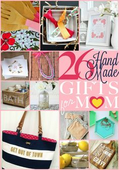 Love these gift ideas for Mother's Day!! 26 Handmade Gifts for Mom - #DIY #mothersday #gifts